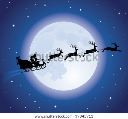 Silhouette of a woman santa on a flying sledge harnessed by magic deers. Full moon and stars on the background.