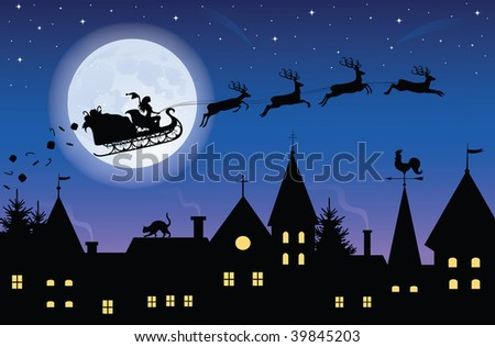 Silhouette of a woman santa on a sledge harnessed by magic reindeer flying over a town with gifts flying off. Full moon and stars on the background.