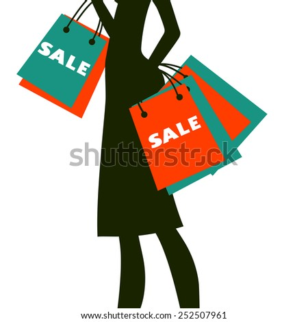 Silhouette of a woman shopping at sales. Vector illustration - stock vector