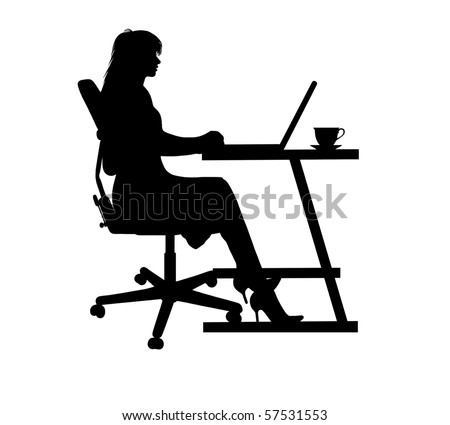 silhouette of a woman typing at a laptop - stock vector