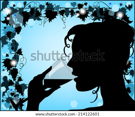 Silhouette of a woman with a glass - stock vector