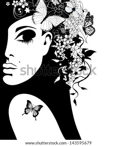 silhouette of a woman with flowers and butterflies, vector illustration - stock vector