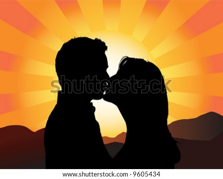 Silhouette of a young couple kissing with the sun setting behind them - stock vector