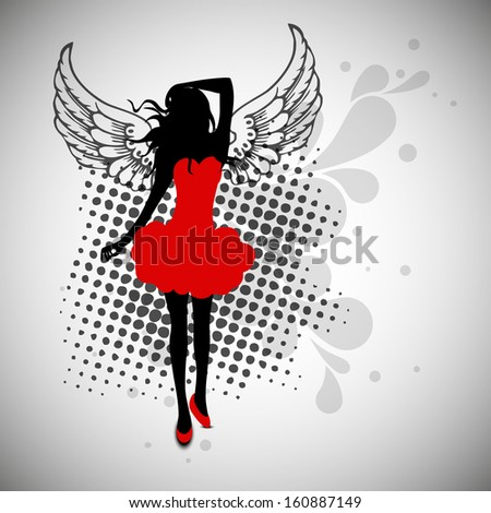 Silhouette of a young girl in red dress on vintage abstract background. - stock vector