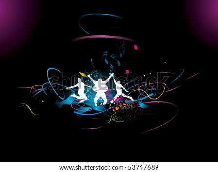 silhouette of a young happy people having fun with wave line background, vector illustration - stock vector