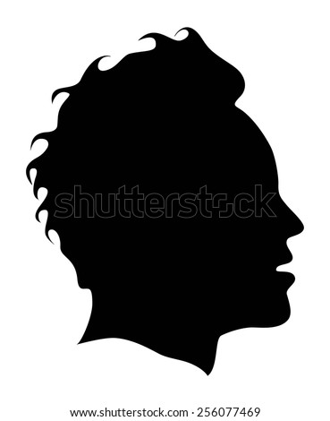 Silhouette of a young mans head profile in black, vector  - stock vector