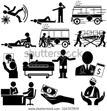 silhouette of accident and insurance service in vector style - stock vector