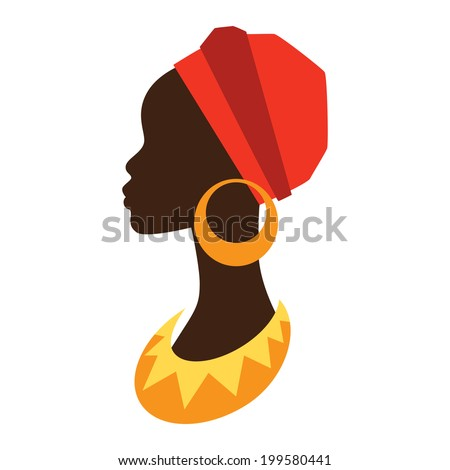 Silhouette of african girl in profile with earrings. - stock vector