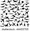 Silhouette of airplanes - stock vector