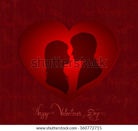silhouette of amorous couple in red heart, valentines day card, vector illustration