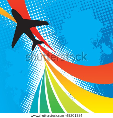 Silhouette of an airplane flying over an abstract rainbow colored backdrop with splattered halftone accents. - stock vector