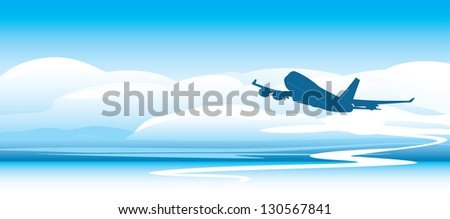 Silhouette of an airplane in the clouds. Vector - stock vector