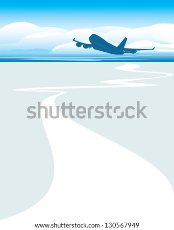 Silhouette of an airplane on the cloudscape background. Vector - stock vector