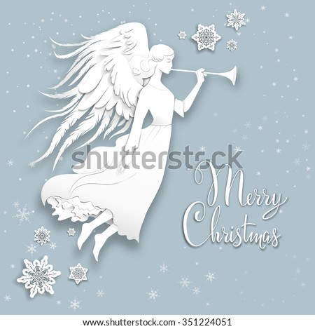 Silhouette of an angel on a snowy background. Luxury Christmas design for card, banner,ticket, leaflet and so on. - stock vector