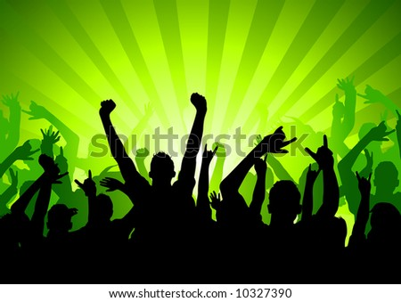 Silhouette of an Audience at a concert - stock vector