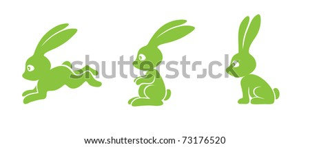 silhouette of an easter bunny, illustration - stock vector