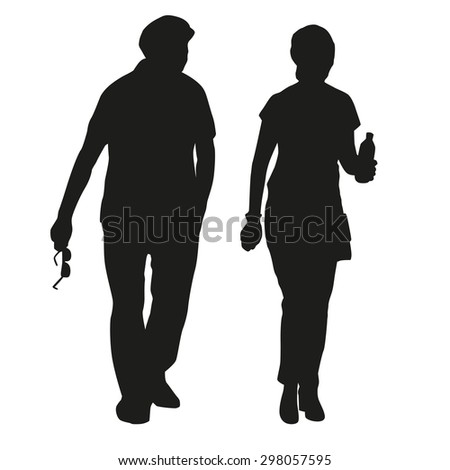 Silhouette of an elderly couple on a walk - stock vector