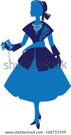 Silhouette of an elegant woman dressed in the style of Dior. Fashion of the twentieth century. luxurious design - stock vector