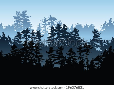 Silhouette of an evergreen forest. - stock vector