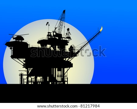 Silhouette of an oil platform in the moon light - stock vector