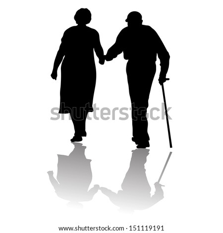 silhouette of an old couple keeping for hands - stock vector
