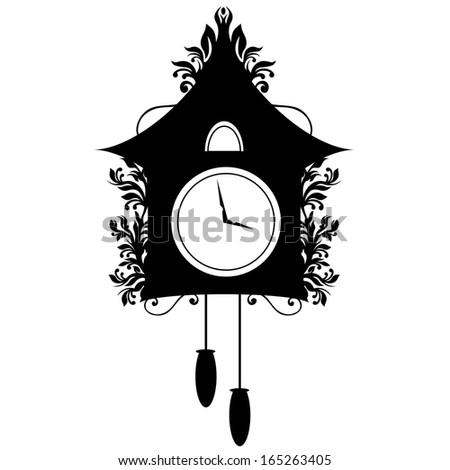 Silhouette of an ornate Cuckoo Clock. - stock vector
