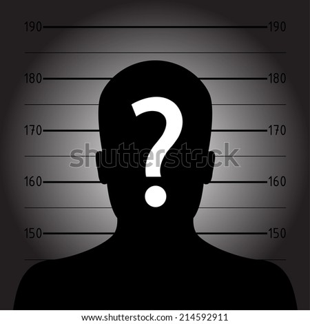 Silhouette of  anonymous man in mugshot or police lineup - stock vector