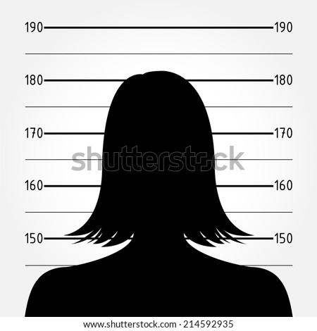 Silhouette of  anonymous woman in mugshot or police lineup - stock vector