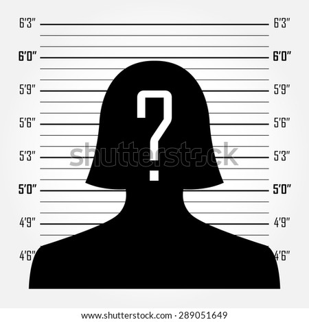 Silhouette of  anonymous woman with question mark in mugshot or police lineup background - stock vector