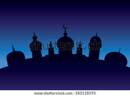 Silhouette of Arabic city with character Islam buildings - stock vector
