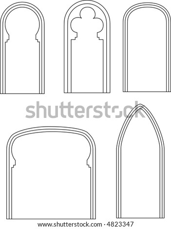 silhouette of arches - stock vector