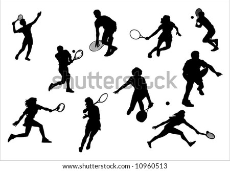Silhouette of athlete of tennis, vector, illustrations