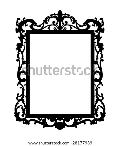 Silhouette of baroque mirror - stock vector