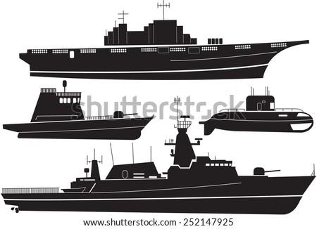 Silhouette of battleship - stock vector