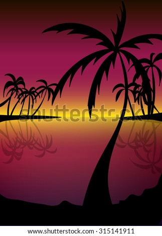 silhouette of beach with palm trees