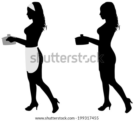 Silhouette of beautiful girl cooking, vector - stock vector