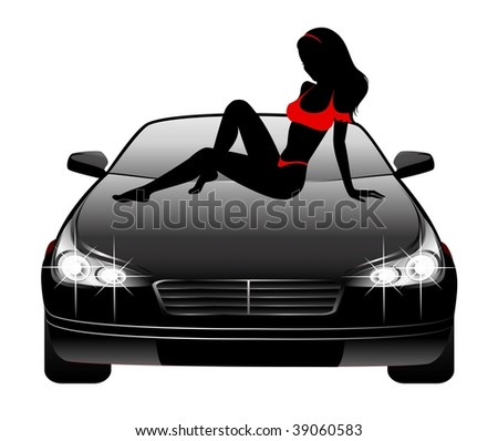 Silhouette of beautiful glamour girl sitting by the car - stock vector