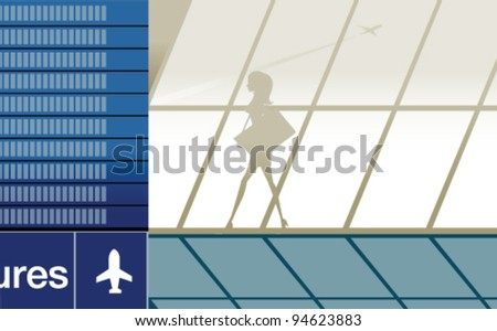 Silhouette of beauty girl in airport with baggage - stock vector