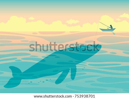 Silhouette of big whale and fisherman in the ocean. Vector illustration with fisherman and sea creatures.