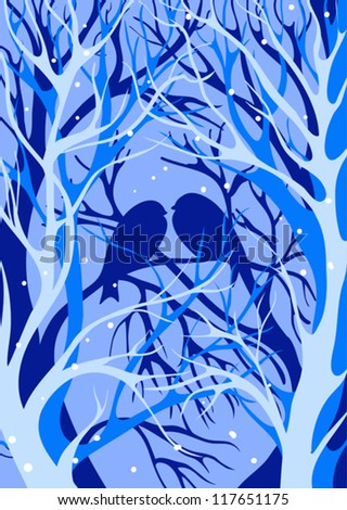 Silhouette of birds on a background of winter trees.season illustration - stock vector