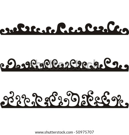 Silhouette of black curls on a white background - stock vector
