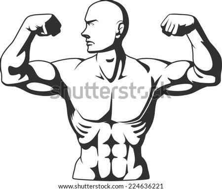 Silhouette of Bodybuilder Flexing Muscles - stock vector