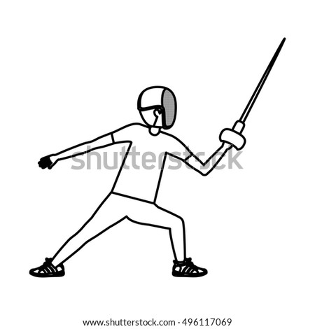 Silhouette of boy fencing design