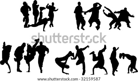 Silhouette of boys and girls dancing on different hip hop style: Krump, Break dance, Old school etc.