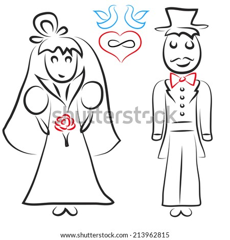 Silhouette of bride and groom. Vector illustration - stock vector