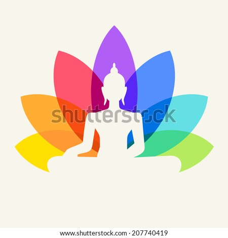 Silhouette of Buddha sitting on a lotus flower background  - stock vector