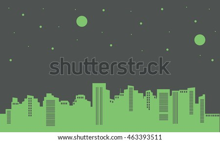 Silhouette of building on green backgrounds design vector