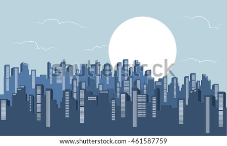 Silhouette of building scenery with full moon illustration