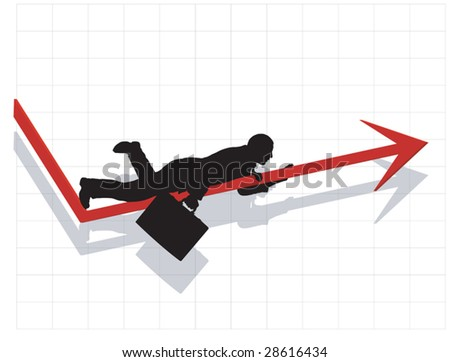 Silhouette of business man crawling up the slow rise of the economy.
