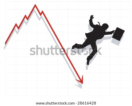 Silhouette of business man falling with the collapse of the economy. - stock vector